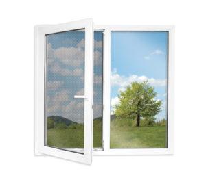 okno z siatką